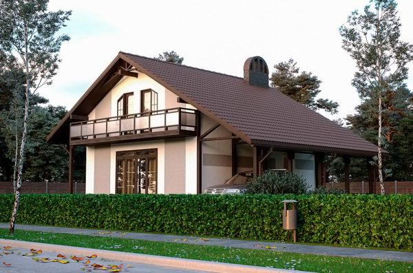 каркасно панельный дом с мансардой и навесом Мечта
