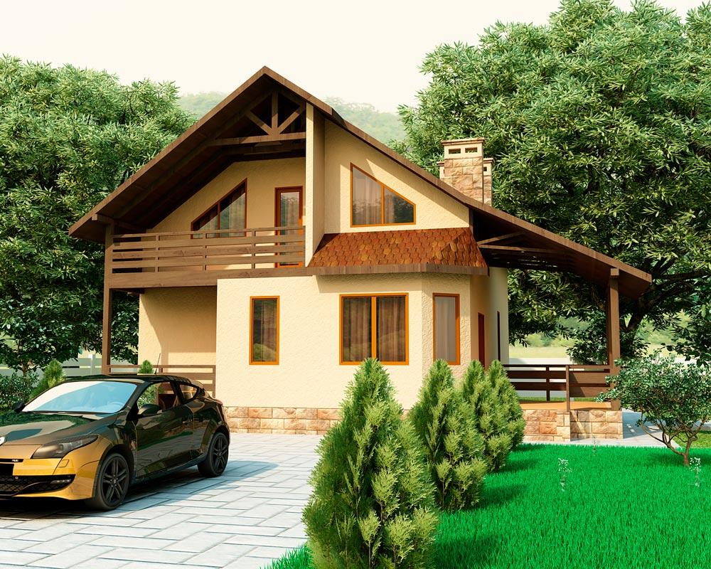 Дом с большим балконом и террасой..