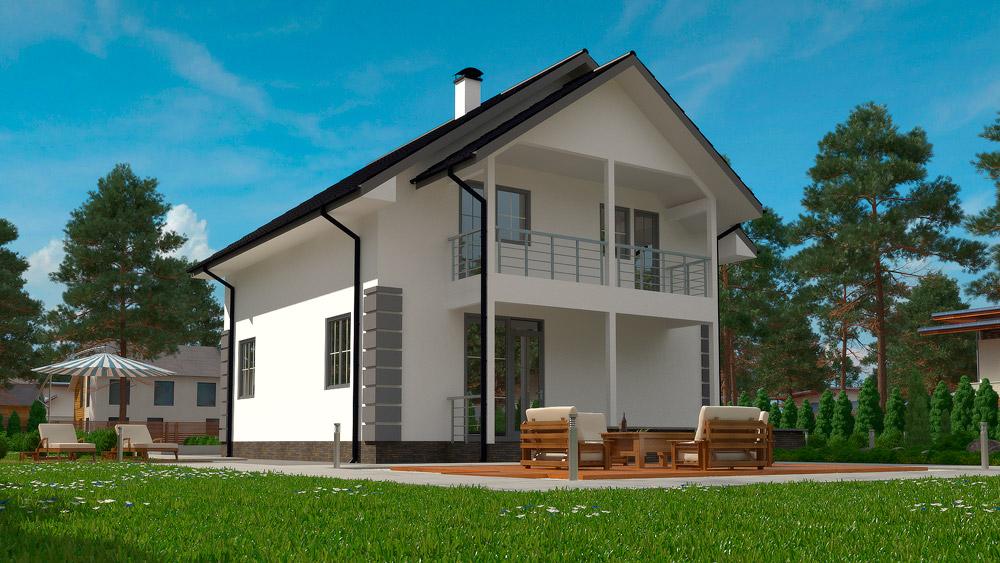 Проект каркасно-панельного дома Сервус