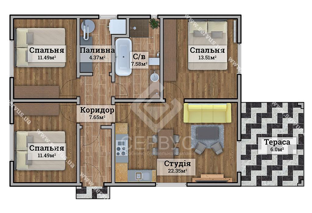 изображение Одноэтажный дом в Словакии 4