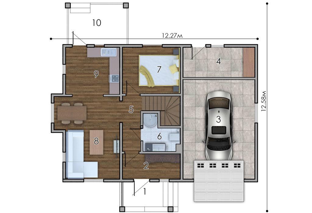 изображение первый_этаж Проект «Обітель» с гаражом